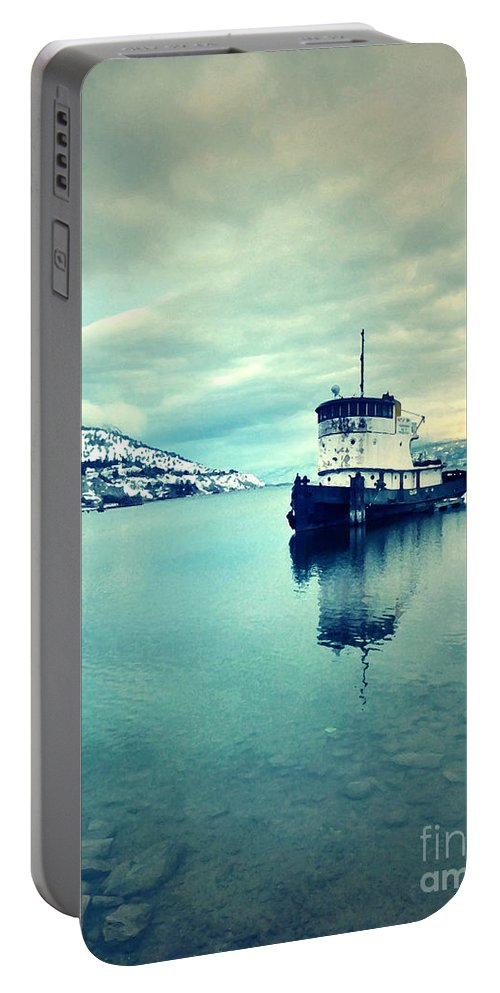 Boat Portable Battery Charger featuring the photograph Cold Reflections by Tara Turner