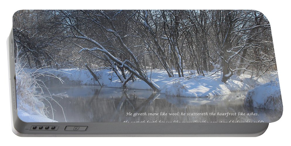 Valley Portable Battery Charger featuring the mixed media Cold-snow by Cliff Ball