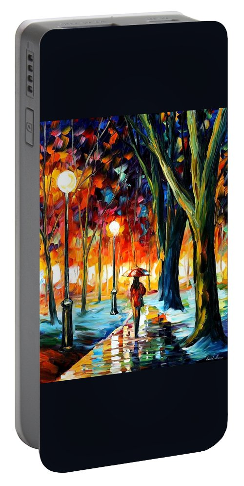 Afremov Portable Battery Charger featuring the painting Cold Winter by Leonid Afremov