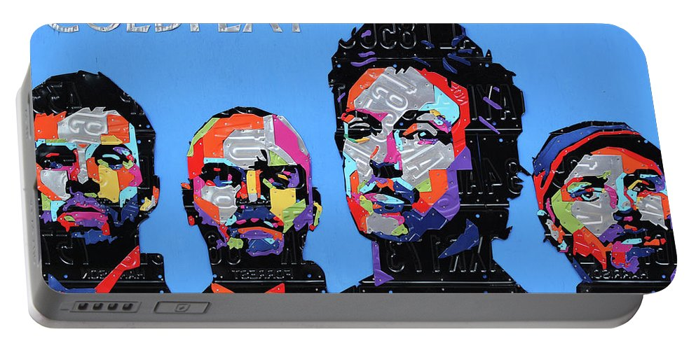Coldplay Portable Battery Charger featuring the mixed media Coldplay Band Portrait Recycled License Plates Art On Blue Wood by Design Turnpike
