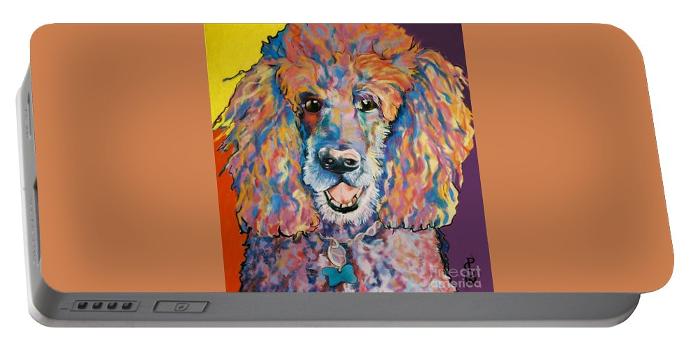 Standard Poodle Portable Battery Charger featuring the painting Cole by Pat Saunders-White