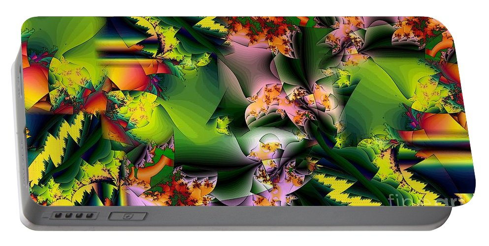 Fractal Portable Battery Charger featuring the digital art Collage in Green and Lavender by Ron Bissett