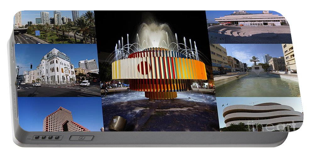 Collage Portable Battery Charger featuring the photograph Collage Of Tel Aviv Israel by Ilan Rosen