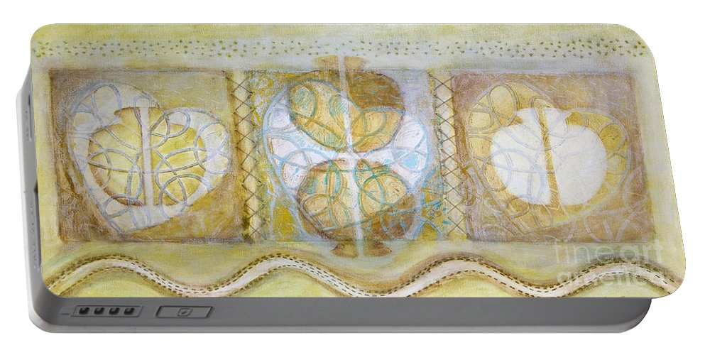 Symbolism Portable Battery Charger featuring the painting Collective Unconscious Three Equals One Equals Enlightenment by Kerryn Madsen- Pietsch