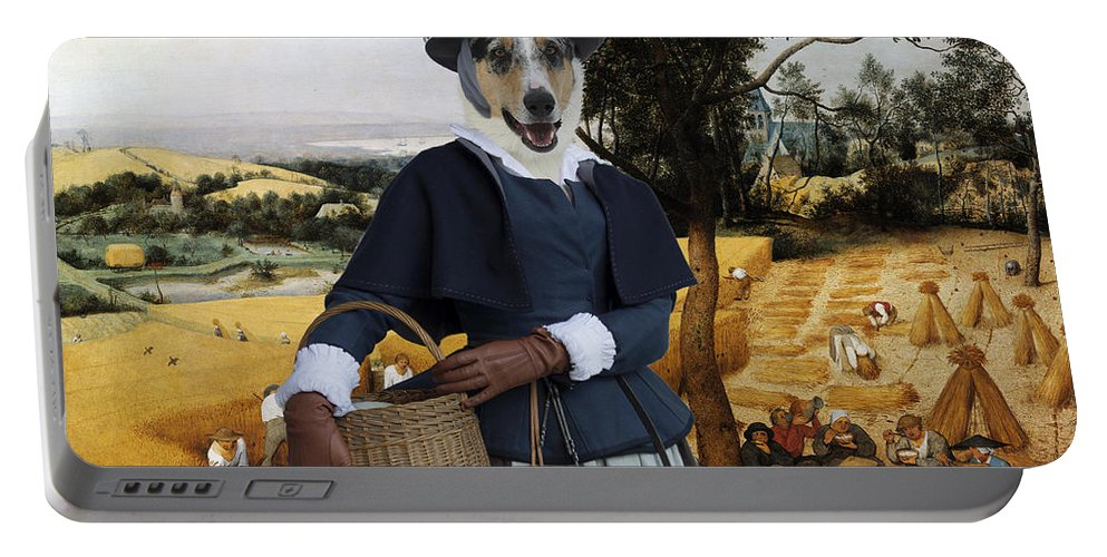 Collie Smooth Portable Battery Charger featuring the painting Collie Smooth - Smooth Collie Art Canvas Print - The Harvesters by Sandra Sij