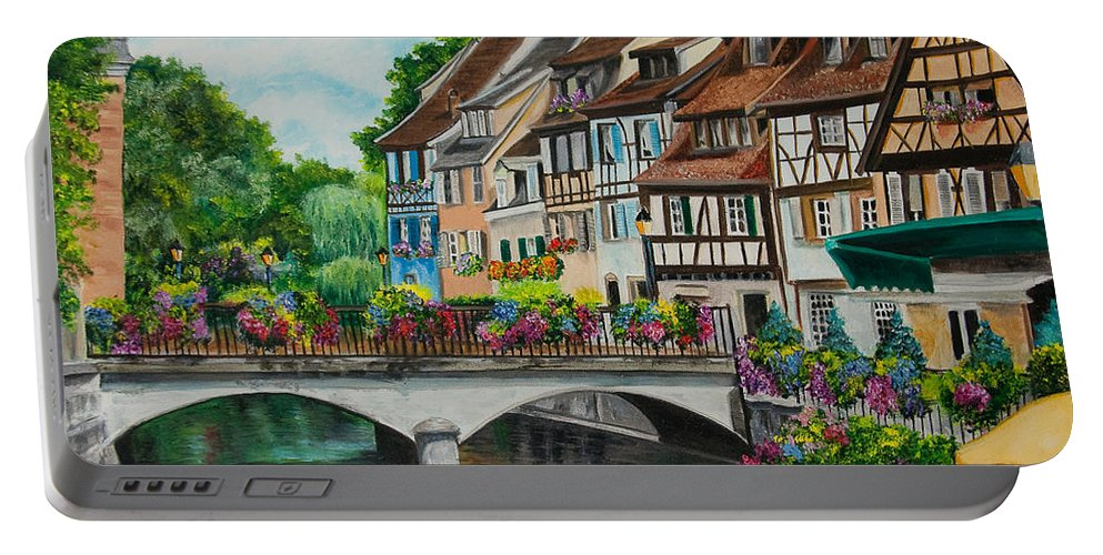 Colmar Portable Battery Charger featuring the painting Colmar In Full Bloom by Charlotte Blanchard
