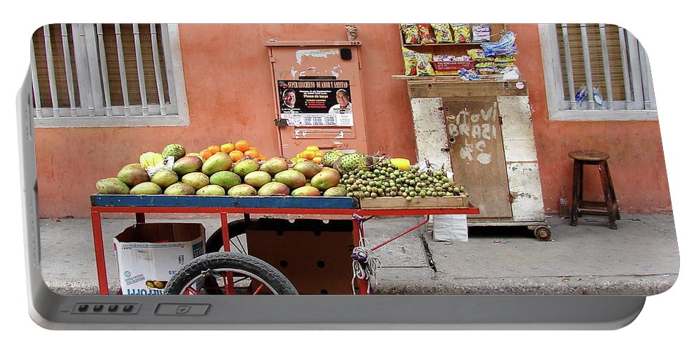 Colombia Portable Battery Charger featuring the photograph Colombia Fruit Cart by Brett Winn
