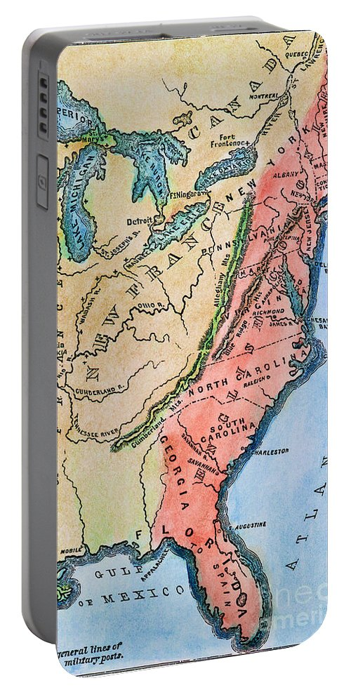 18th Century Portable Battery Charger featuring the photograph Colonial America Map by Granger