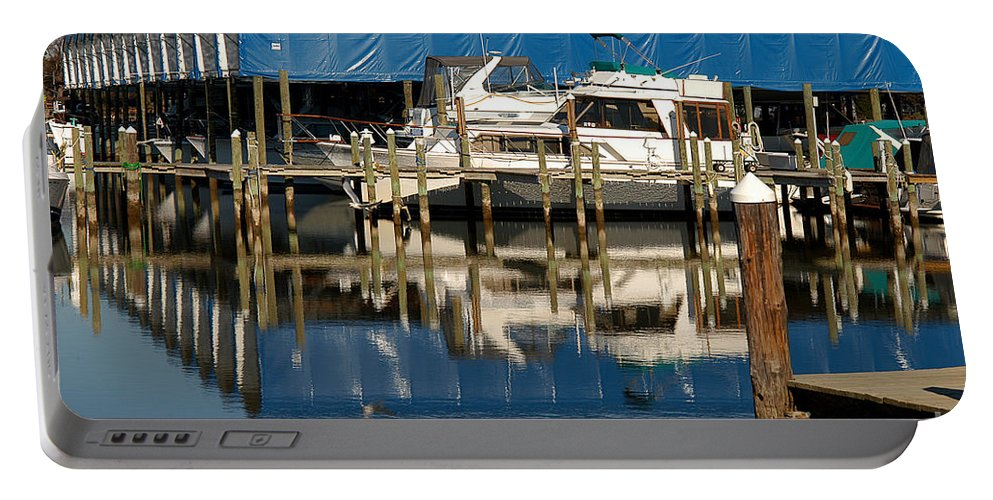 Clay Portable Battery Charger featuring the photograph Colonial Beach Marina by Clayton Bruster