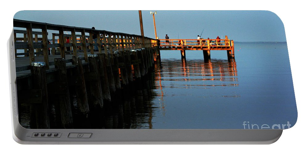 Clay Portable Battery Charger featuring the photograph Colonial Beach Town Pier by Clayton Bruster
