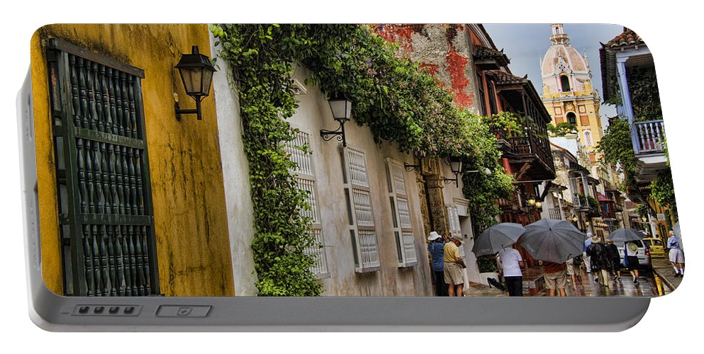 Cartagena Portable Battery Charger featuring the photograph Colonial Buildings In Old Cartagena Colombia by David Smith