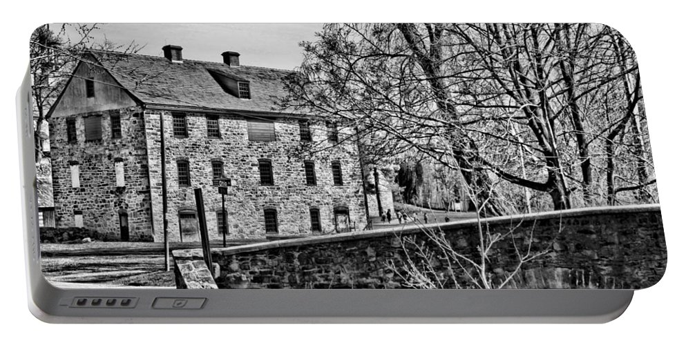 Black And White Portable Battery Charger featuring the photograph Colonial Industrial Quarter by DJ Florek