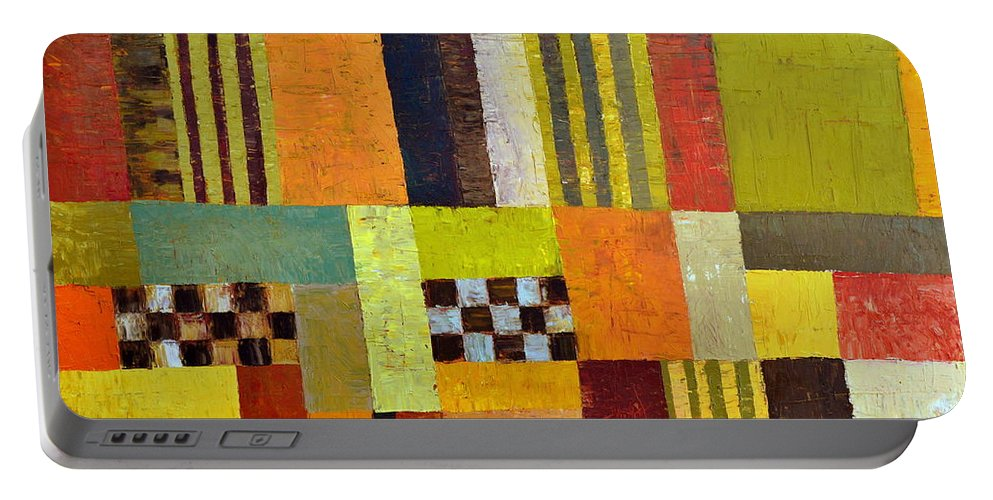 Colorful Portable Battery Charger featuring the painting Color And Pattern Abstract by Michelle Calkins
