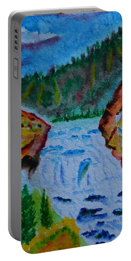 Color At The Firehole Portable Battery Charger featuring the painting Color At The Firehole by Warren Thompson