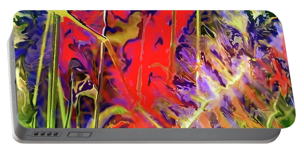 Abstract Portable Battery Charger featuring the digital art Color Explosion by Ian MacDonald