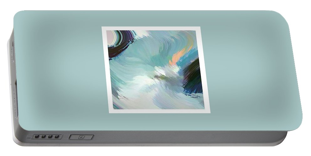 Landscape Digital Art Portable Battery Charger featuring the digital art Color Falls by Anil Nene