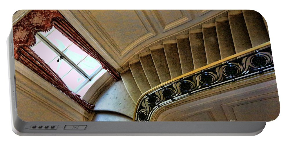 Architecture Portable Battery Charger featuring the photograph Color Interior Stairs by Chuck Kuhn