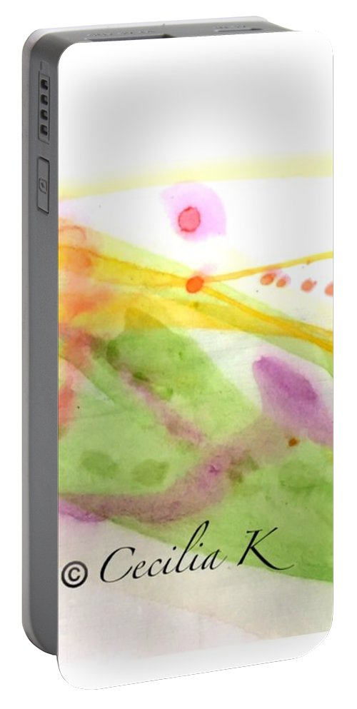 Colorful Portable Battery Charger featuring the mixed media Color Of Dance Japan by Kaoru Saito
