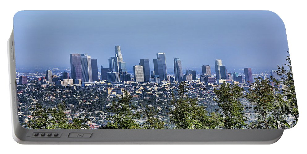 Los Angeles Portable Battery Charger featuring the photograph Color Pano Los Angeles California by Chuck Kuhn