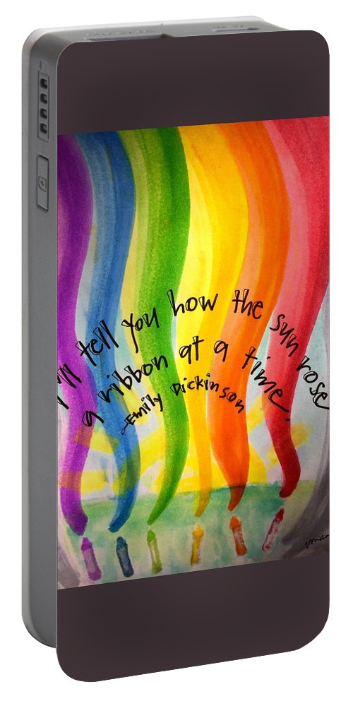 Rainbow Portable Battery Charger featuring the painting Color the Sky by Vonda Drees