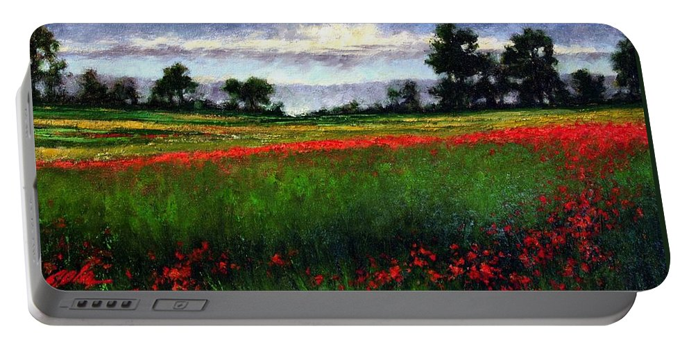 Landscape Portable Battery Charger featuring the painting Colorburst by Jim Gola