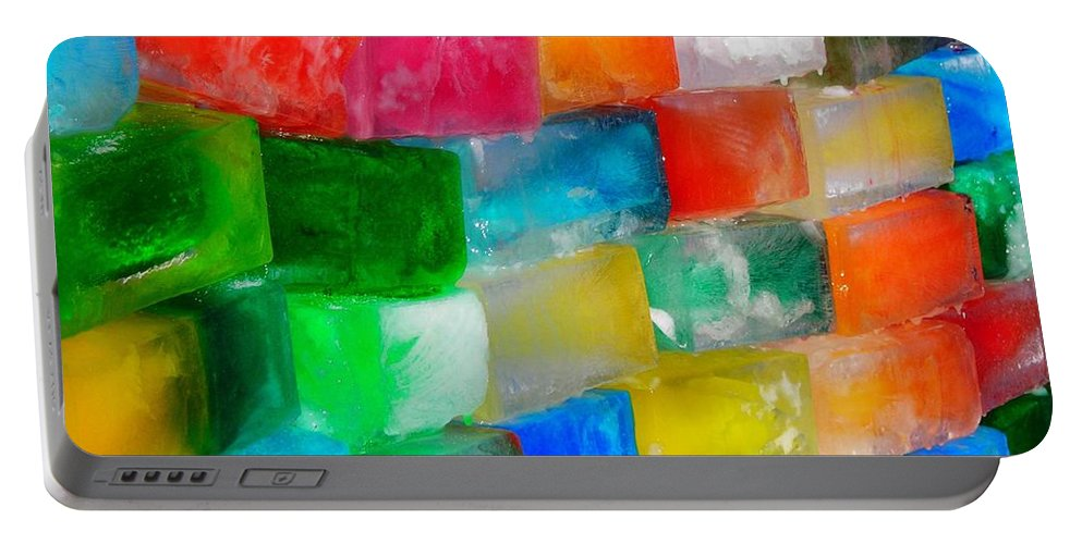 Wall Portable Battery Charger featuring the photograph Colored Ice Bricks by Juergen Weiss
