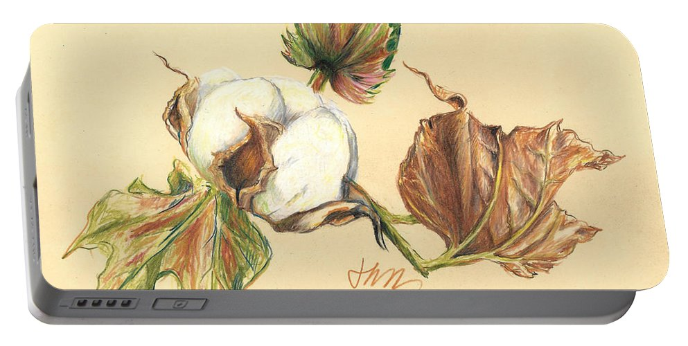 Graphite Pencil Drawing Portable Battery Charger featuring the drawing Colored Pencil Cotton Plant by Jacki Kellum