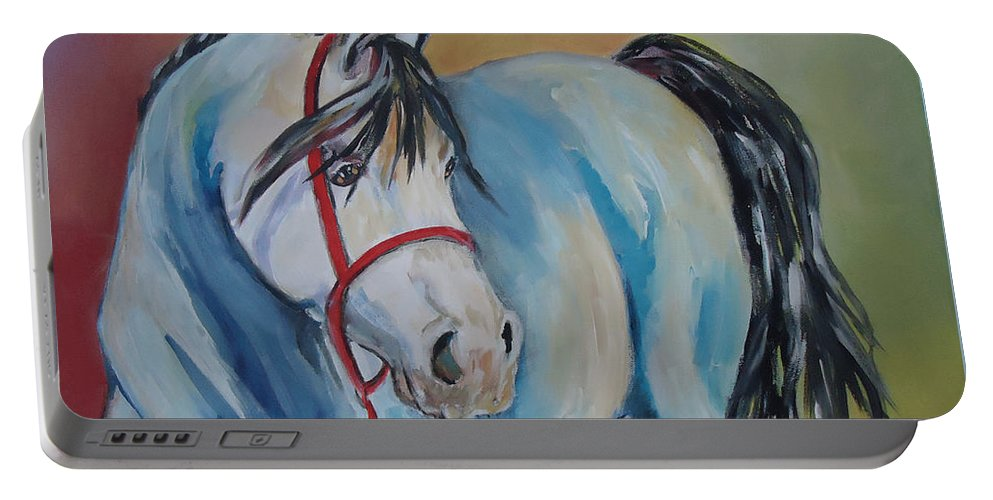 A Horse Of Many Colors. Horse Portable Battery Charger featuring the painting Colored Pony by Charme Curtin