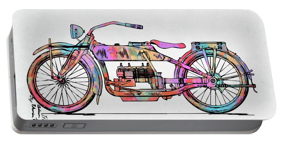 Harley-davidson Portable Battery Charger featuring the digital art Colorful 1919 Harley-davidson Motorcycle Patent by Nikki Marie Smith