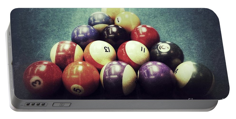 Pool Table Portable Battery Charger featuring the photograph Colorful Billiard Balls by John Myers