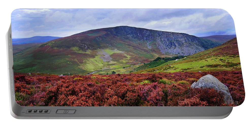 Jenny Rainbow Fine Art Photography Portable Battery Charger featuring the photograph Colorful Carpet Of Wicklow Hills by Jenny Rainbow