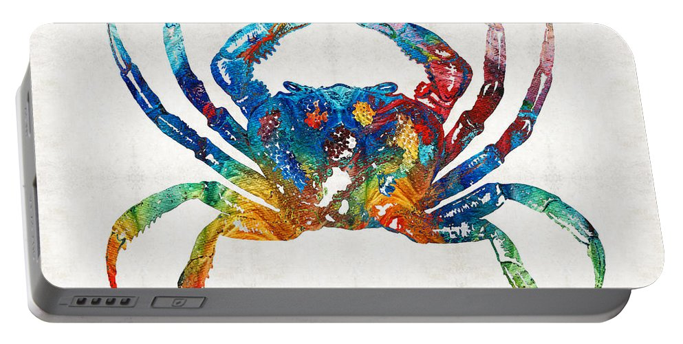 Crab Portable Battery Charger featuring the painting Colorful Crab Art By Sharon Cummings by Sharon Cummings