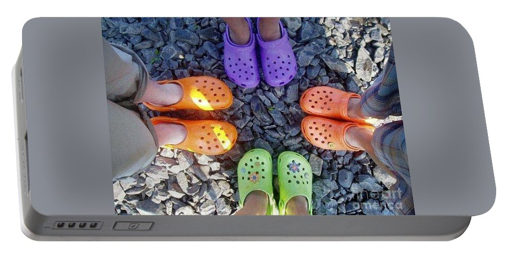 Crocs Portable Battery Charger featuring the photograph Colorful Crocs by Barbara Griffin
