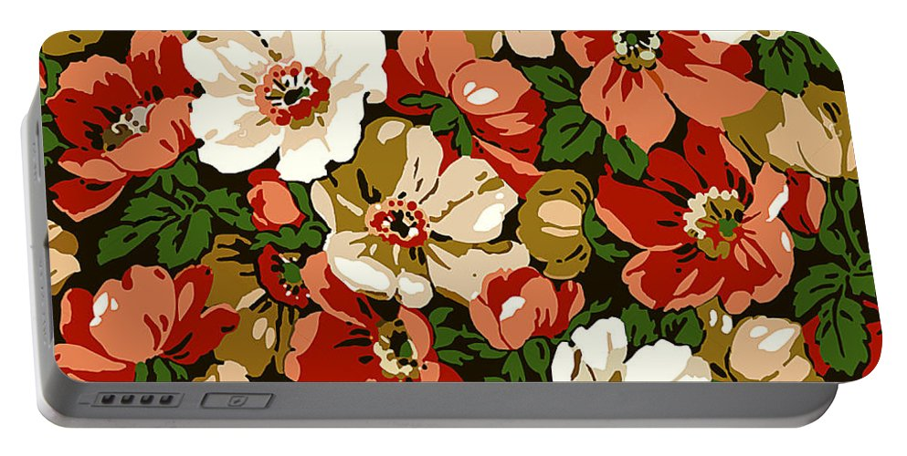 Colorful Portable Battery Charger featuring the digital art Colorful Floral Design by Long Shot