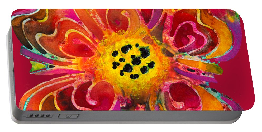 Colorful Portable Battery Charger featuring the painting Colorful Flower Art - Summer Love By Sharon Cummings by Sharon Cummings