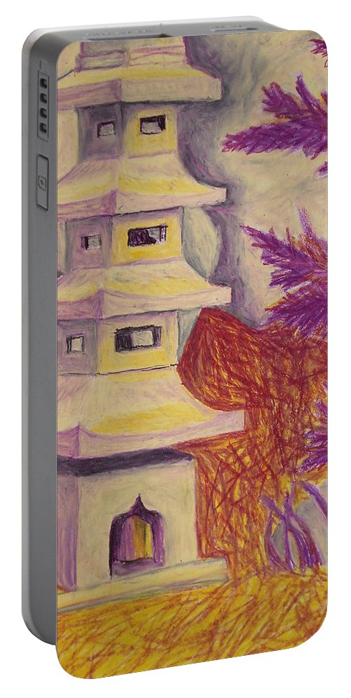Tree Portable Battery Charger featuring the pastel Colorful Garden by Jean Haynes