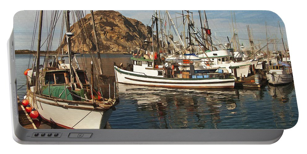 Morro Bay Portable Battery Charger featuring the digital art Colorful Harbor by Sharon Foster