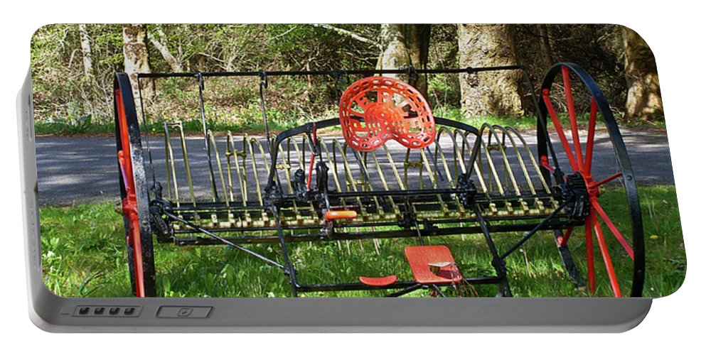 Colorful Portable Battery Charger featuring the photograph Colorful Hay Rake by Douglas Barnett