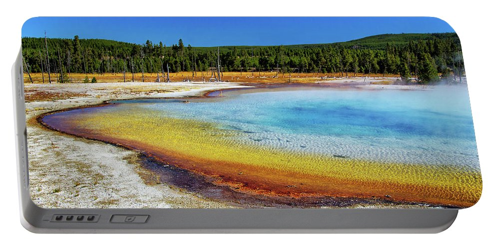 Colorful Hot Spring In Yellowstone Portable Battery Charger featuring the photograph Colorful Hot Spring In Yellowstone by Carolyn Derstine