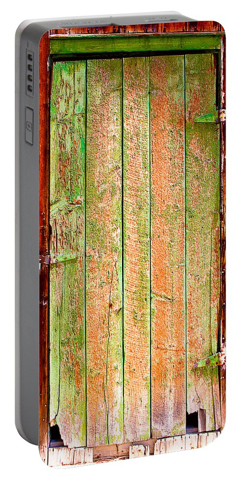 Old Portable Battery Charger featuring the photograph Colorful Old Barn Wood Door by James BO Insogna