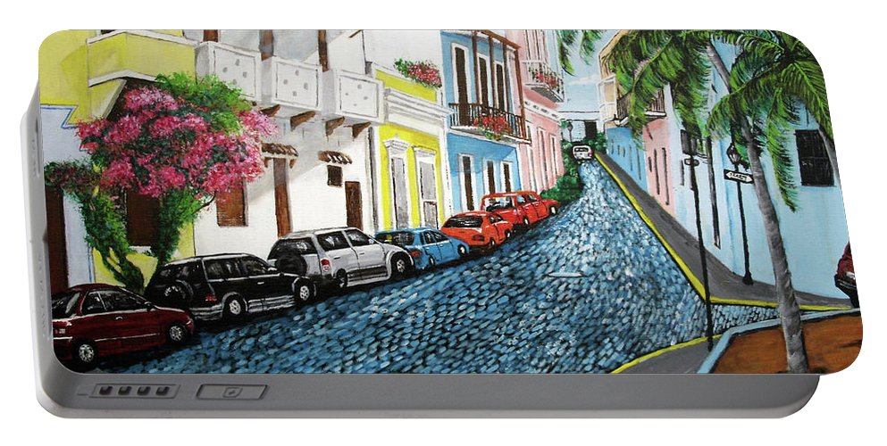 Old San Juan Portable Battery Charger featuring the painting Colorful Old San Juan by Luis F Rodriguez