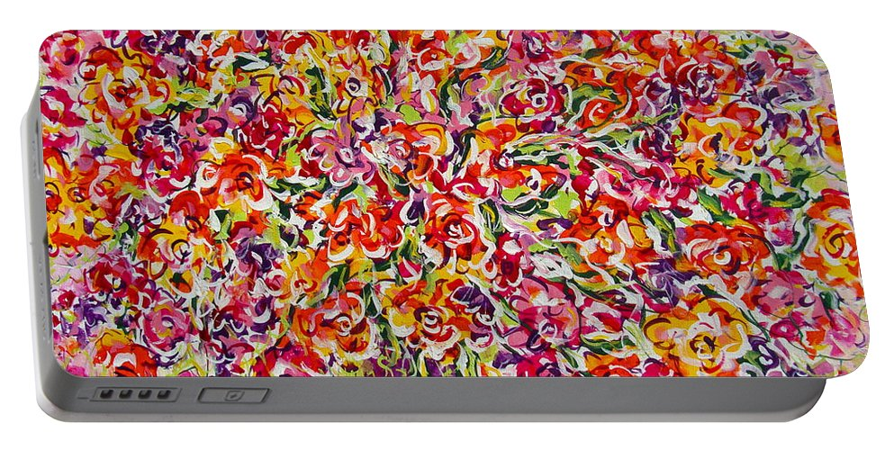 Framed Prints Portable Battery Charger featuring the painting Colorful Organza by Natalie Holland