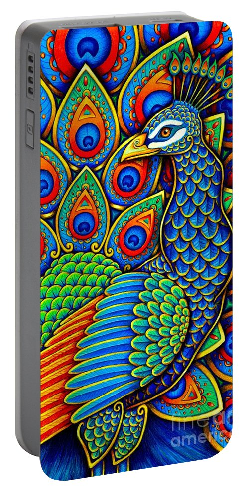 Peacock Portable Battery Charger featuring the drawing Colorful Paisley Peacock by Rebecca Wang