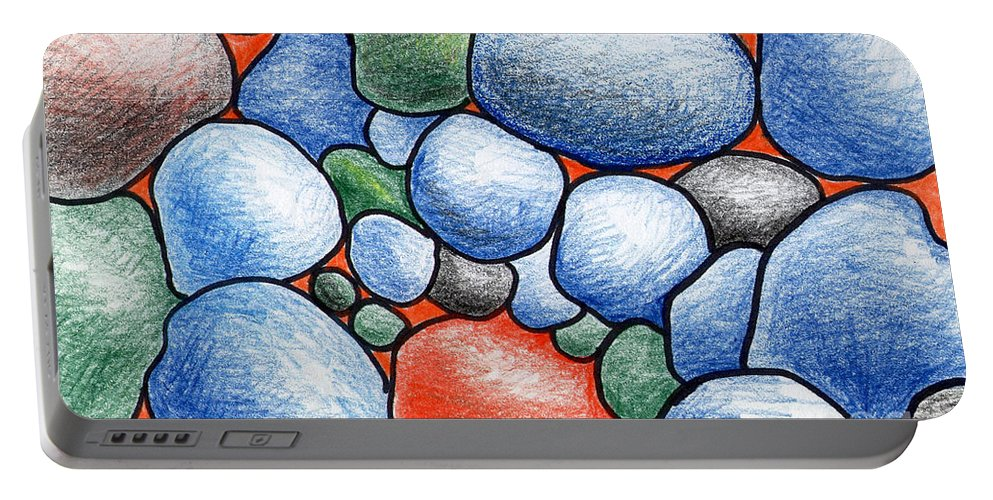 Rocks Portable Battery Charger featuring the drawing Colorful Rock Abstract by Nancy Mueller