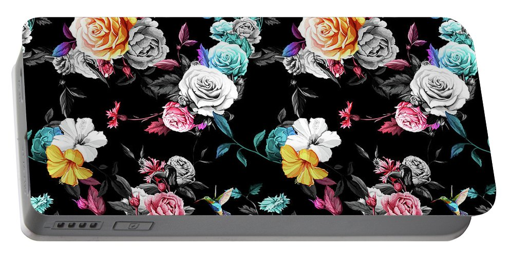 Colorful Portable Battery Charger featuring the digital art Colorful Roses by Long Shot