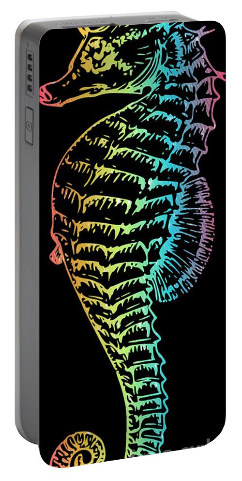 Colorful Seahorse Portable Battery Charger featuring the mixed media Colorful Seahorse by Jennifer Capo