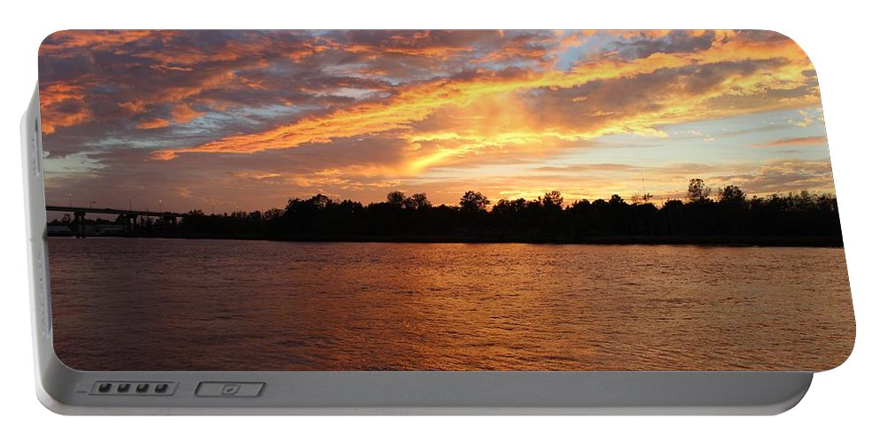 Sunset Portable Battery Charger featuring the photograph Colorful Sky At Sunset by Cynthia Guinn
