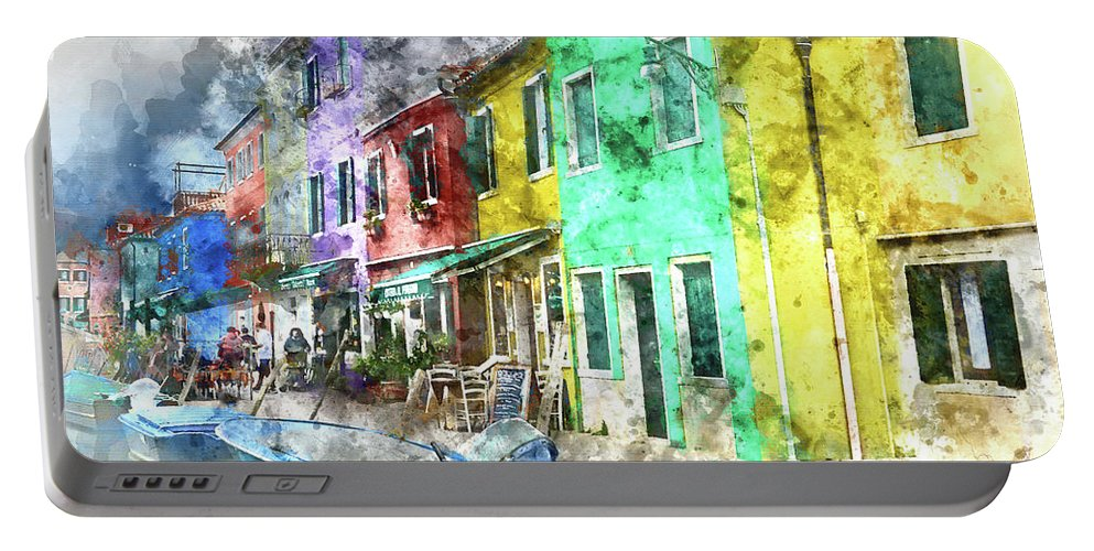 Ancient Portable Battery Charger featuring the photograph Colorful Street In Burano Near Venice Italy by Brandon Bourdages