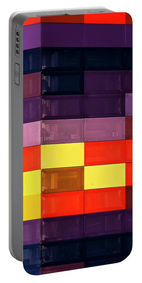 Textured Wall Portable Battery Charger featuring the photograph Colorfully Blocked Walls by Walking Pants