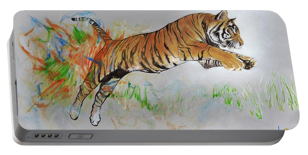 Tiger Portable Battery Charger featuring the painting Coloring In The Lines by LE Williams